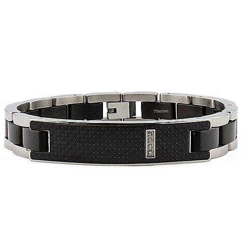 Titanium Men's ID Bracelet with Black Carbon Fiber Inlay 8.5 Inches