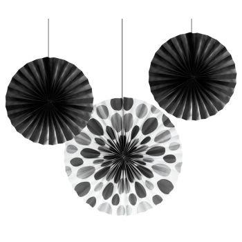 Black Dot Paper Fans (3ct)