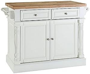 Amazon.com: Crosley Furniture Butcher Block Top Kitchen Island in White Finish: Kitchen & Dining