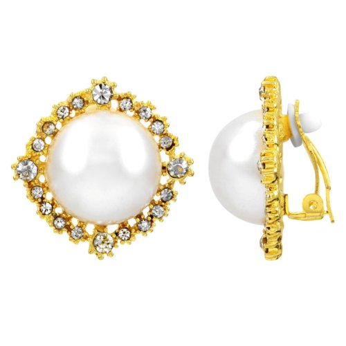 Audrey's Jumbo Faux Pearl Button Clip On Earrings - Gold