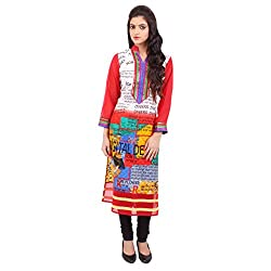 Radhya Women's Unstiched Kurti (Pan12_Multi Color)