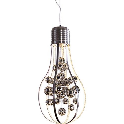 Heitronic Pendelleuchte Glamour, Glühlampenform, Metallstäbe mit 32W warmweißem LED Strip und verchromte Glaskugeln HEI-27699