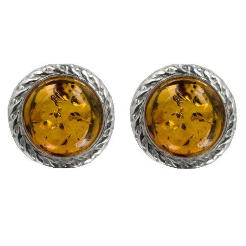 Sterling Silver Honey Amber Round Filigree Stud Earrings