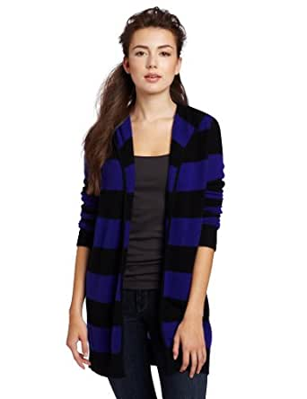 Christopher Fischer Women's 100% Cashmere Striped Featherweight Hooded Sweater, Blue Saphire/Black, Small