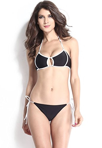 TBS Women's Patchwork Sexy White Trimmed Black Bikini Swimwear