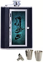 Running Nike Art Custom Personalized Printed 6oz Black Faux Leather Hip Flask