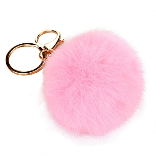 Imitate Rabbit Fur Ball Keychain, Shensee Cute Plush Car Key Ring Car Key Pendant Keychain Bag (pink)