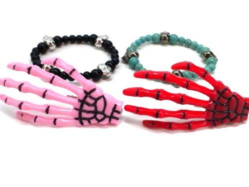 BIGBANG ビッグバン スカル ヘアクリップ 赤 ピンク各1個と GーDRAGON 着用 ブレスレット ブラックオニキスとターコイズ各1個 合計3個の福袋セット マイセルフストア pinkredfullset