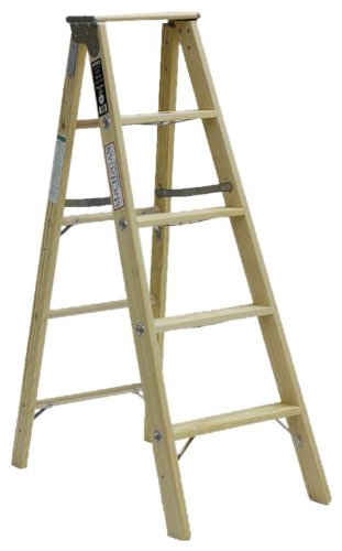Michigan Ladder 1320-05 300 Pound Duty Rating Type 1A Tradesman Wood Stepladder, 5-Foot