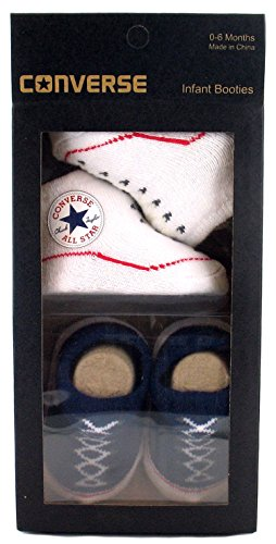 new-infants-converse-textile-upper-slip-on-booties-twin-pack-navy-white-uk-size