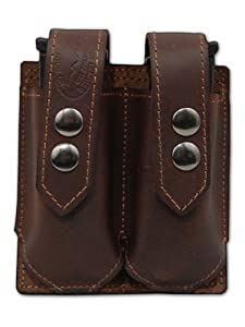 Barsony Brown Leather Double Magazine Pouch for ASTRA 80 90 70 75 100