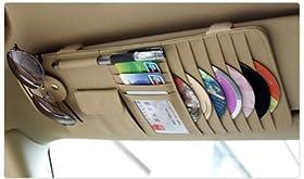 New Multi-function 7pcs Disks CD DVD Glasses Cards Sotre Case Holder Bag for Auto Vehicle Truck Sun Visor Organizer Beige (Beige)