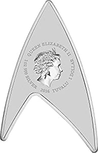 2016 TV star trek DELTA STAR TREK Original Series Insignia Shape 50th Anniversary 1 Oz Silver Coin 1$ Tuvalu 2016 Dollar Perfect Uncirculated