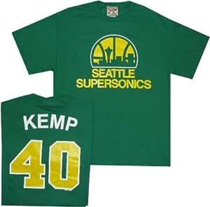 Seattle Super Sonics Shawn Kemp Throwback Majesic Kelly Green T Shirt (Medium)