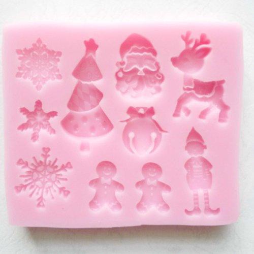 """""""Santa cruz éssentials"""" noël moule en silicone, Ustensiles de cuisson Moule Tray Moule à gâteau / sucrerie / Jelly / Glace / Cookie (Flocon de neige, Noël Arbre, Elf, pain d'épice, de babioles)"""