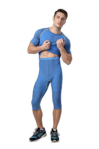 Prettywell Mens Sports Compression Quick Dry Calf Length Tight Pants MA-08 (M, Blue)