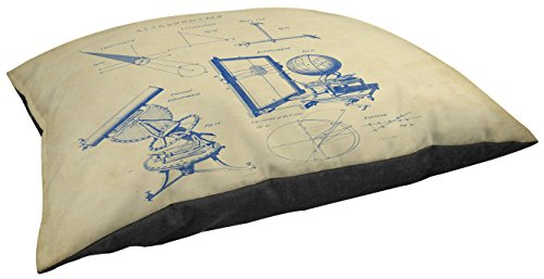 Thumbprintz Fleece Top Large Breed Pet Bed, Vintage Astronomy Telescope, Off-White