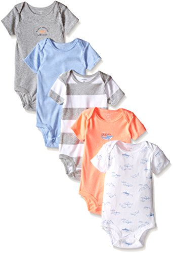 Carters Baby Boys' Shark Bodysuit - 5 Pack, Grey Multi, 3 Months