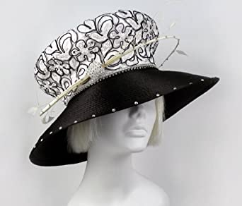 Lace Mushroom Crown Wide Brim Hat With Feather Accent - MW54 BLACK/WHITE