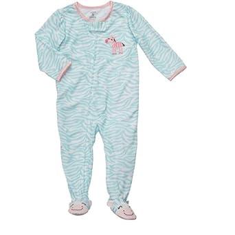 Carters Toddler Girls Blue Zebra Print Footed Sleeper, 5T