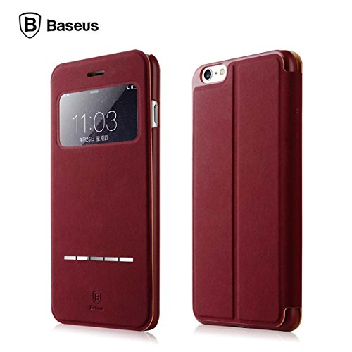 "BASEUS iPhone 6 Plus Leather Case -Top PC + PU Classial Color - Brief - Durable - Slip to answer/off calls -Anti-Scratch -Big-Window Modern Leather Case for iPhone 6 Plus 5.5"" -Red JC076"