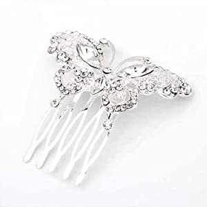 Facilla silver plated butterfly crystal - Decorative hair slides ...