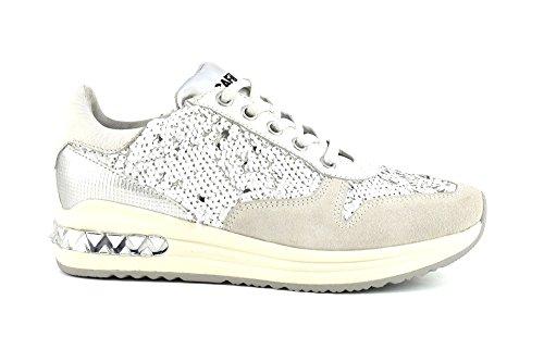 CAFÈ NOIR Sneakers running donna con pailletes P/E 2016 cod.DA642 (35, BIANCO)