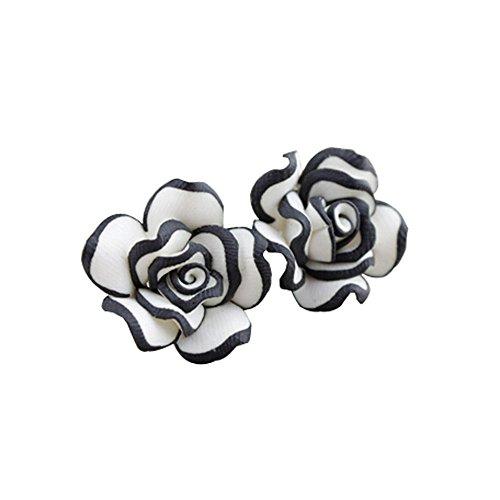 Starvy (TM) Sveglio elegante donne della signora Girls Black White Rose vite prigioniera del fiore orecchini 24 agosto