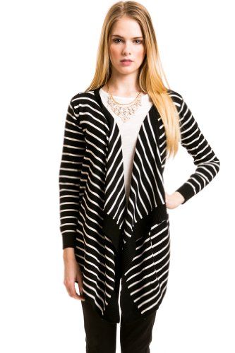 Striped Lapel Cardigan In Black/White