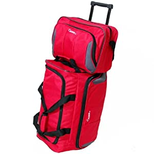 Lightweight Luggage Set of 20'' Wheeled Holdall & 14'' Flight Bag (Red)