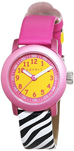 ESPRIT Cutie Face reloj unisex de cuarzo rosa con esfera analógica pantalla y oro piel es106414031