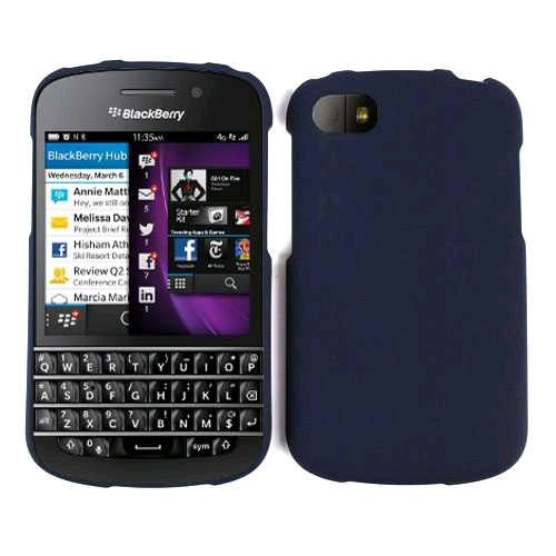 Cell Armor Bbq10-Snap-A008-Xxc Snap-On Case For Blackberry Q10 - Retail Packaging - Navy Blue/Leather Finish