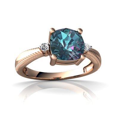 14Kt Rose Gold Lab Alexandrite And Diamond Cushion Cushion Rope Ring - Size 8