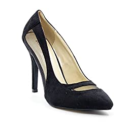 Belle Gambe Women's Partywear Black Pointed toe Stilletoes with Mesh on Sides - 8C_971007-35_40