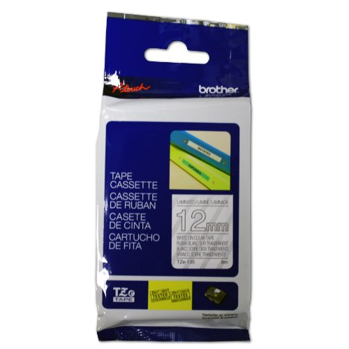 Brother Laminated Tape, Retail Packaging, 1/2 Inch, White, on Clear (TZe135) - Retail Packaging