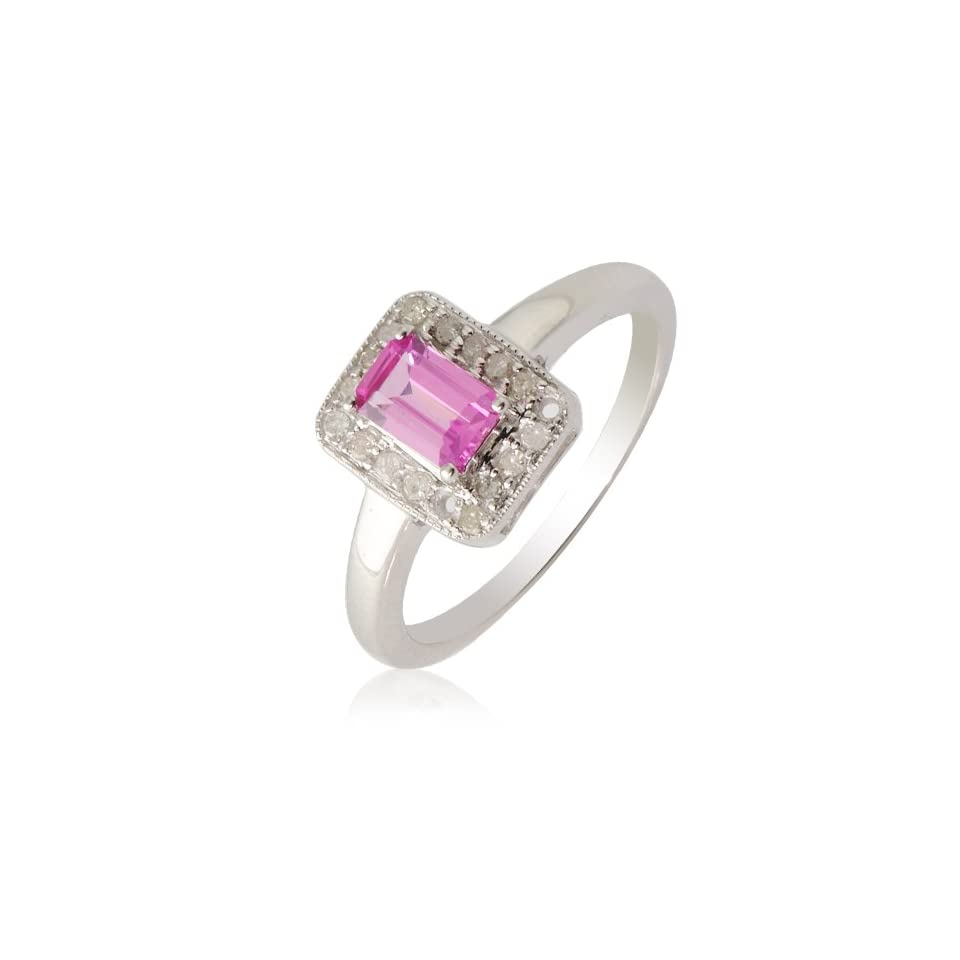 0.66cttw Natural White Round Diamond & Natural Emerald Shape Pink Sapphire Ring in 14K White Gold.size 8.0