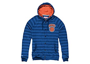 New York Knicks Mitchell & Ness Striped Button Front Hoody by Mitchell & Ness