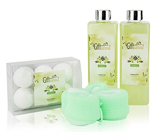 Spa Gift Basket with Seductive Vanilla Fragrance - Perfect Christmas, Birthday or Anniversary Gift for Men and Women - Bath Gift Set Includes Shower Gel, Bubble Bath, Bath Bombs and More!