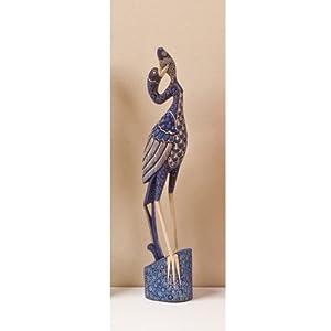 Blue Heron Bird Statue Asian Art Wood Sculpture Home Decor