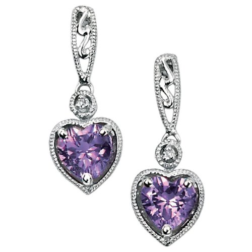 9ct White Gold Dangling Stud Earrings Set With Diamond (0.008ct) And A Heart Shaped Amethyst.