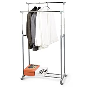 relaxdays double clothes rack on wheels. Black Bedroom Furniture Sets. Home Design Ideas