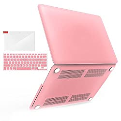 iBenzer - 3 in 1 Multi colors Soft-Touch Plastic Hard Case Cover & Keyboard Cover & screen protector for Multi Sizes Macbook (Macbook Pro 13'' with retina display Pink)
