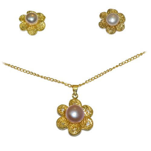 Yellow Gold Necklace w/ Pink Pearls Jewelry Set