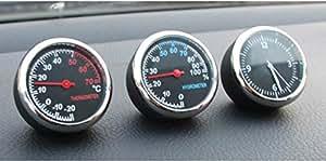 追加メーター風 アナログ 3連メーター 温度計 湿度計 時計 マルチ車載