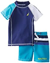 Nautica Baby-Boys Infant Rashguard Swim Set, Teal, 18 Months