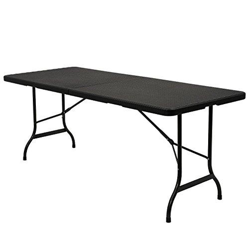 Zelsius-Falttisch-180-x-75-x-72-cm-Gartentisch-Klapptisch-Campingtisch-Rattan-Design