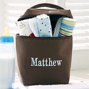 Personalized Bottle Bag For Boys With Burp Cloth Set front-939593