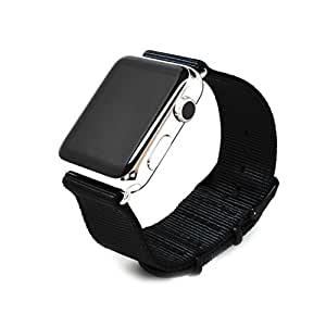 Nato Skull 42mm Apple Watch Band, Black Ballistic Nylon Band Strap with PVD Metal Clasp for All 42mm Apple Watch Models (Connector Sold Separately)