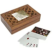"Set Of 8 - Wooden Playing Card Box For Storage - Playing Card Holder With Deck Of Card - Card Games - 4.8"" X 3.5..."