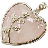 Rose Quartz Heart Pendant 35mm With Silver Plated Leaf Design & Bail HA01010